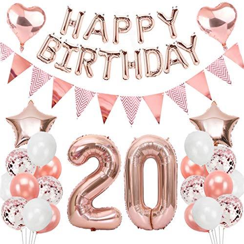 Ouceanwin 20 Cumpleaños Decoraciones Oro Rosa, Globos Numeros Gigante 20, Bandera de Globos Happy Birthday, Globos de Confeti, 20 años Fiesta de Cumpleaños Kit para Niñas y Mujeres