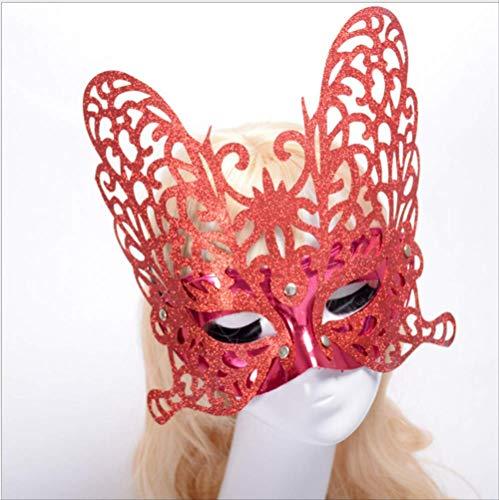 DFLMBV Bola de Maquillaje de Halloween Máscara de Media Cara Máscara de Princesa Máscara de Mariposa de Polvo de Oro