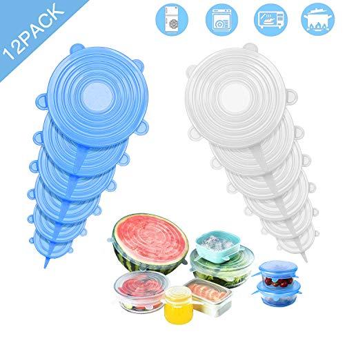 Couvercle Silicone Alimentaire 12 Pièces, Couvercle Silicone Extensible Réutilisable sans BPA, eco Couvercle Casserole Silicone Universel de 6 Tailles Différentes