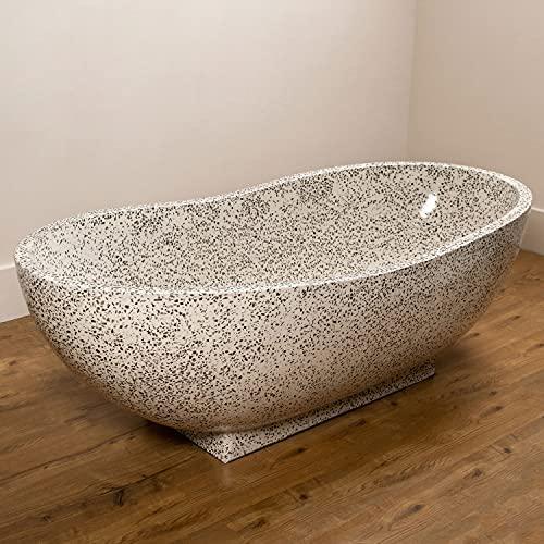 wohnfreuden Badewanne aus Terrazzo 180x85x60 cm Creme schwarz Stein-Wanne Naturstein-Badewanne