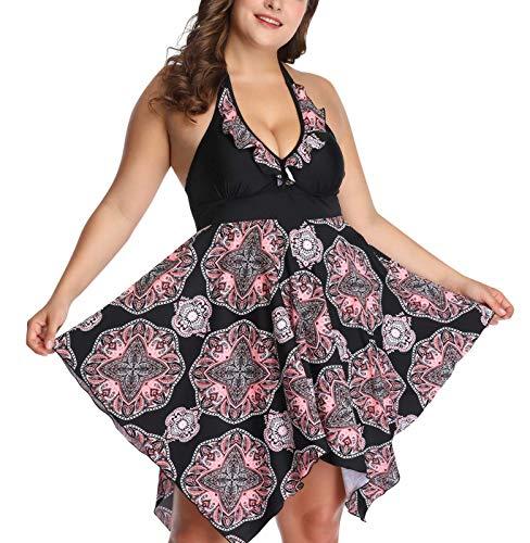 Women's Plus Size Bathing Suit Flowy Layered Swimdress Two Piece Irregular Skirt Hem Swim Suit 2XL