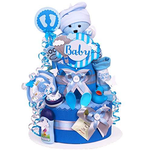 MomsStory - Windeltorte Junge | Teddy-Bär | Baby-Geschenk zur Geburt Taufe Babyshower | 2 Stöckig (Blau) mit Plüschtier Lätzchen Schnuller & mehr | inkl. Schutzmaske für Mama (Waschbar)