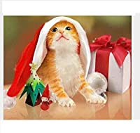 DIYデジタル絵画ペイントサンタ帽子の動物猫DIY油絵絵画キャンバスクリスマスギフト-40x50cmフレームレス