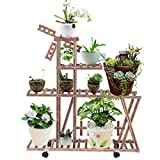 XEDUO Rolling Plant Stand Natural Wood 6 Tier Plant Rack with Wheels Rack Ladder
