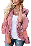 RJXDLT Womens Floral Print Kimono Cardigan Loose Puff Sleeve Cardigans Patchwork Cover Up Blouse Top Pink XL 213