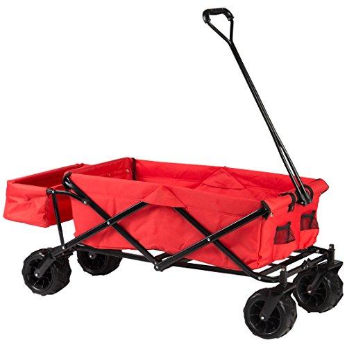Ultrasport faltbarer Bollerwagen, Handkarre mit Transporthülle, praktischer Outdoor/Picknickwagen, ideal für Ausflüge & Strand, inkl. Transporttasche, belastbar bis 100 kg,360° Vorderräder,rot