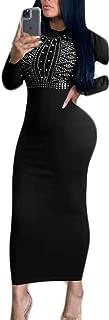 OLUOLIN Womens Glitter Rhinestone Embellished Maxi Long Bodycon Midi Dress