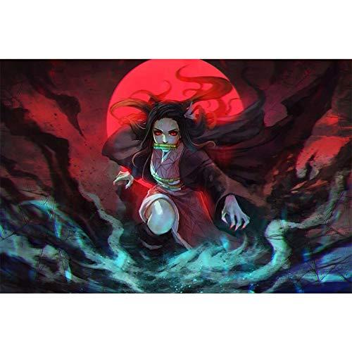 JIAYOUHUO Decoración del hogar pintura Demon Slayer Kimetsu No YaibaHD impresión moderna póster lienzo Cuadros Anime Modular imagen para pasillo