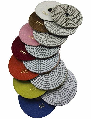 "Konfor Wet 6"" 7-Step Diamond Polishing Pads Flexible Sanding Tools Discs Buff"