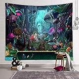 Arazzo da Parete, Zodight Tapestry Wall Hanging con varie fantasie, Stampa Della Foresta di Funghi, Utilizzato in Camera da Letto, Soggiorno, Copriletto, Decorazione Murale(230x180cm)