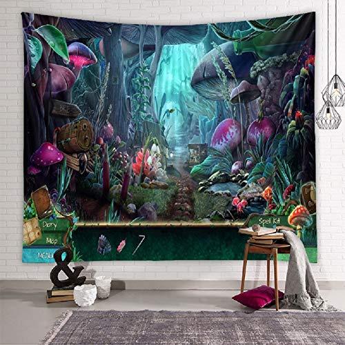 Zodight Tapiz de Pared Psicodélico, Tapices de Jardín de Hongos Tapiz Abstracto Hippie Tapiz de Cuento de Hadas, Tapestry Decoración de Pared para Dormitorio Sala de Estar