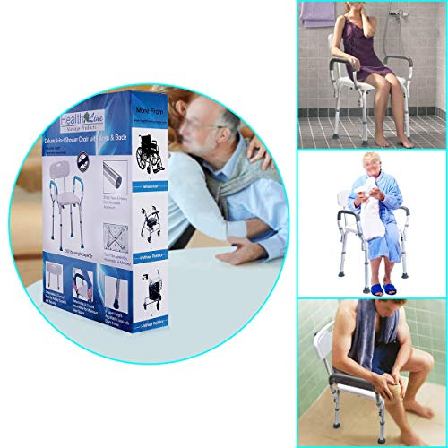 Health Line Massage Products Shower Chair Bath Seat Bench with Removable Back &Arms, Tool-Free Assembly, Adjustable Height, w/Non-Slip Feet & Bonus Loofah Back Scrubber