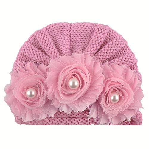 Lazzboy élastique Bébé Garçons Filles Hiver Casquette Chapeaux Bandeau Baptême Fête Photographie Belles Cheveux Accessoires T Rose 0-2 Ans