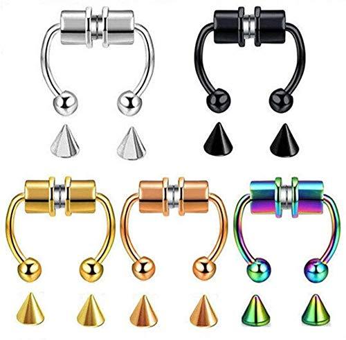 QMHN 5 Pcs Reusable Nose Ring Alloy Fake Magnetic Horseshoe Non Piercing Hoop, Stainless Steel Faux Septum Rings, Nose Hoop Rings for Women Girls