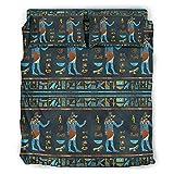 DOGCATPIG Colcha reversible y elegante, diseño de dioses egipcios, clásico, geométrico, patrón de costura de diamante,...