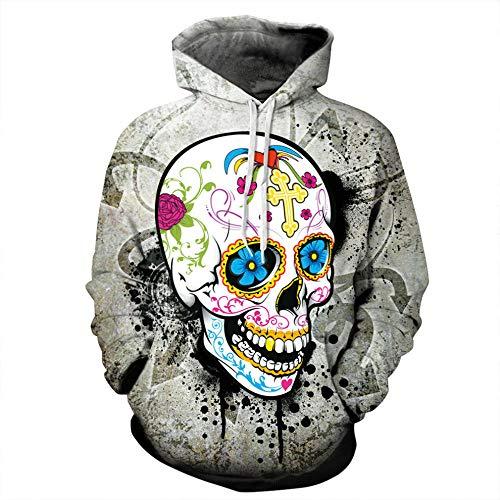 ZIXIYAWEI 3D Pullover Hoodie Voor Mannen Schedel Lente Skateboard Sweatshirt Pullover Hip Hop Hoodie Mode Punk Digitale Print Schedel Hoofd Patroon Toppen