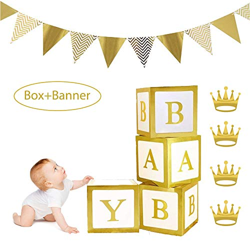 Jewaytec Baby Shower Dekorationen Box Blöcke, 12in Gold Baby Briefkästen mit 12Pcs Golden Triangle Flags Banner für Baby Shower Decor Party Supplies Gefälligkeiten, Baby Geburtstag