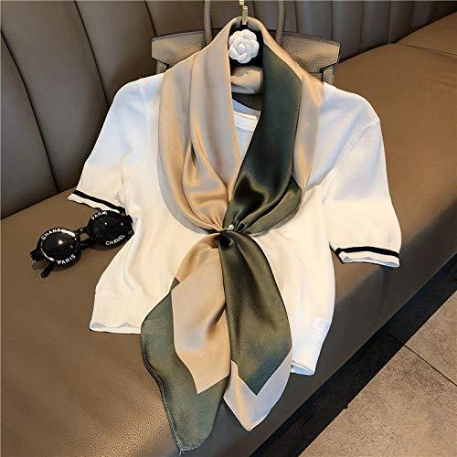 ZAMi Toalla Dafang para Mujer, Cuello Blanco, Ropa de Trabajo, decoración, Bufanda de Seda, Primavera y otoño, Bufanda de Moda Fina, Tinta Verde + Beige