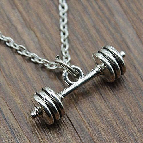 ZJJLWL Co.,ltd Collar 25X7X7Mm Collar con Barra Colgante para Mujer Collar Cadena de joyería Color Plata Antigua