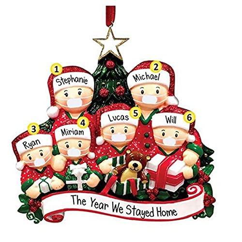 Hainice 2021 Ornamenti Natalizi Fai da Te Famiglia di 6 Decorazioni per Le Vacanze Regalo Creativo per la Famiglia