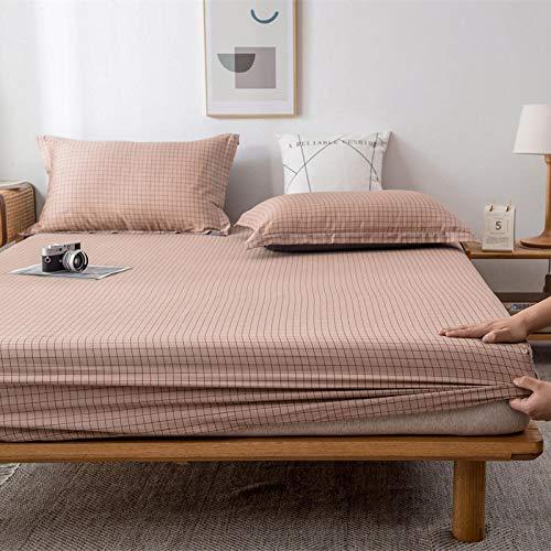 HAIBA Sábana bajera ajustable, apta para secadora, no necesita planchado, color rosa, 180 x 200 cm