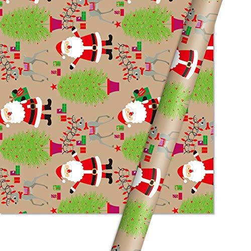Iycorish Envoltorio Papel Kraft Regalo Caja de Regalo Papel de DecoracióN Papá Noel MuuEco de Nieve Papel de Envolver con Copo de Nieve-1