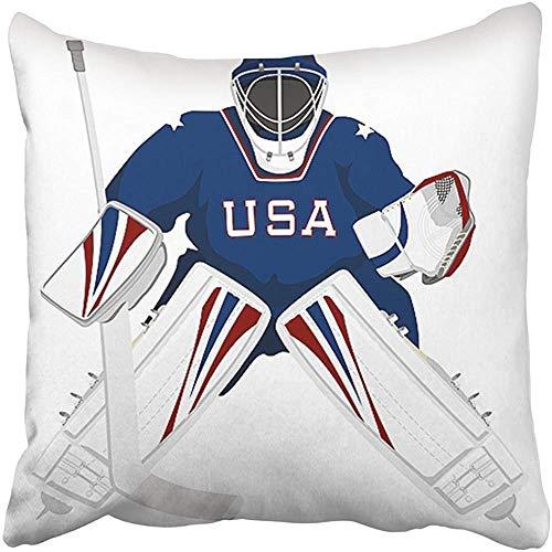 Leisure-Time Kissenbezüge Ice Team USA Hockey Torwart Trikot Sport Schläger Winterhelm Cartoon Grafik Bezug Kissen