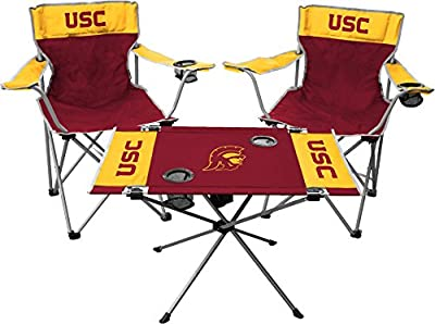 Rawlings NCAA 3-Piece Tailgate Kit, 2 Gameday Elite Chairs and 1 Endzone Tailgate Table, USC Trojans