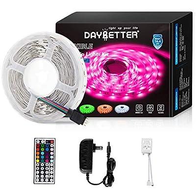 Led Strip Lights 16.4ft 5m Flexible Color Changing RGB Led Light Strip 5050 150leds LED Tape Lights Kit with 44 Keys IR Remote Controller and 12V Power Supply
