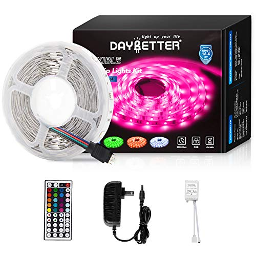 Daybetter Led Strip Lights 16.4ft 5m Flexible Color Changing RGB Led Light Strip 5050 150leds LED Tape Lights Kit with 44 Keys IR Remote Controller and 12V Power Supply