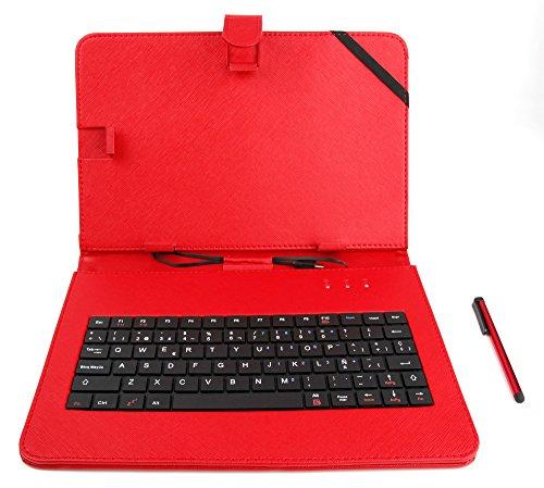 DURAGADGET Funda/Teclado ESPAÑOL Roja 10.1' para Tablet LESHP (10.1' 10.6' 9.6') - Conexión MicroUSB + Lápiz Stylus