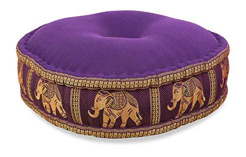 livasia Zafukissen Seide mit Kapokfüllung, Meditationskissen, Yogakissen, rundes Sitzkissen/Bodenkissen (lila/Elefanten)