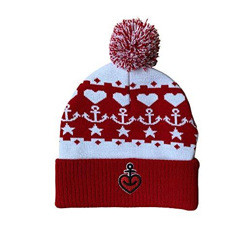 ASTRA Wollmütze Pudelmütze Herzanker in Rot/Weiß, Mütze für Damen & Herren, Lieblings-Accessoire, Wintermütze Unisex, Kopfbedeckung aus Hamburg St. Pauli