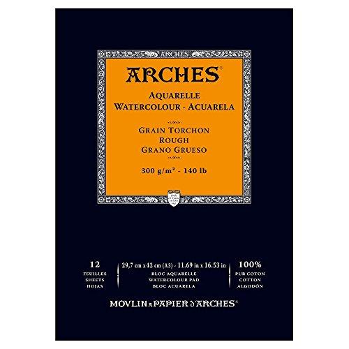 Arches - Papel de acuarela, bloc 12 hojas engomado 1 lado, grano grueso, 300 g/m², A3