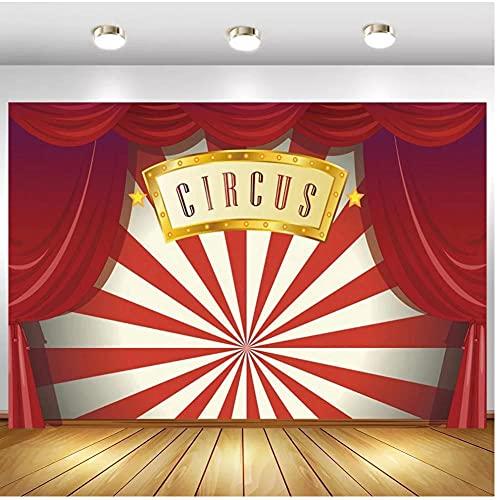 Roter Vorhang Zirkus-Partyzelt Babyparty Geburtstag Hintergrund Fotografie Hintergrund für Fotostudio Vinyl 1,5 x 2,1 m
