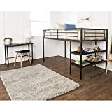 Home Accent Furnishings Sunrise Twin Metal Loft Bed with Desk and Shelves in Black