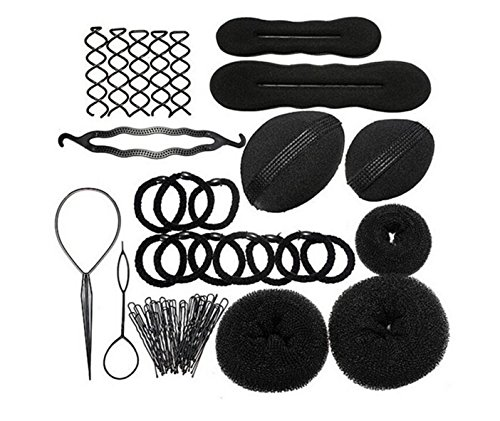 JZK Accesorios peinado herramientas kit set pelo donut para mujeres cabello diseño cabello estilo accesorios peinado conjunto Kit accesorios, negro