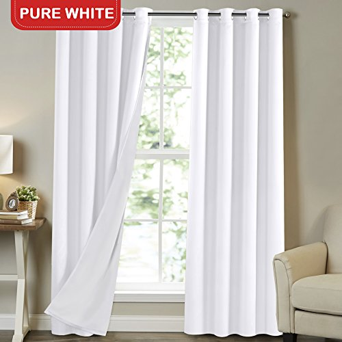 Patio Door Soundproof Room Darkening Curtains 108 Inch Room Divider for Bedroom Window Living Room Thermal Insulated Window Treatment Panels, W52 x L108, Pure White, 2 Panel Set