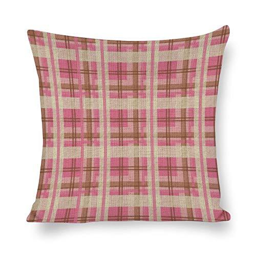 Confezione di cuscini da 18 x 18 cm, in tartan rosa, per la fattoria, l'ufficio, la camera da letto, il soggiorno, la sala giochi, lo studio, la sala da pranzo, la cucina