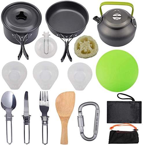 YSCYLY Casseroles Camping Kit,Ensemble de casseroles de 4 pièces pour 2-3 Personnes avec Vaisselle et Mousqueton pour théière,pour PêChe/Survie/RandonnéE/Outdoor/Pique-Nique