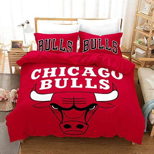 Meiju Bettwäsche-Set 3 TLG mit 1 Mikrofaser Bettbezug und 2 Kissenbezug - Bettbezug mit Reißverschluss Schließung - 3D Basketball Bedrucktes Bettwäsche Set (180x220cm,Chicago Bulls)