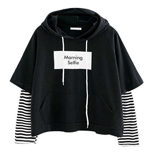 Covermason Sweats Court à Capuche Dames Sweatshirt Femme Court Chic Sweat à Capuche Fille Ados Impression Rayé Chemise Polo Style Court Chemisier Top Pull (L, Noir)