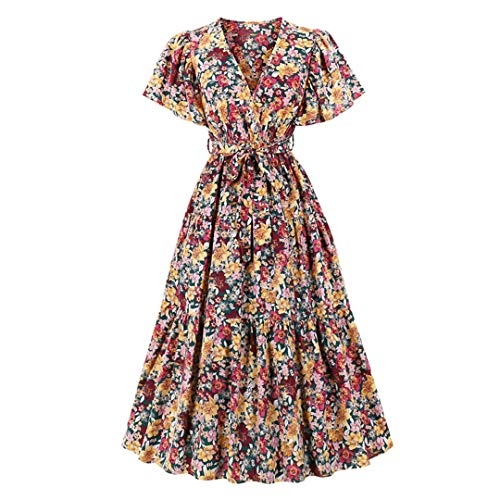 NHFVIRE Colorido Floral Estampado en v Cuello Elegante Fiesta Mujer Vestido Largo flejo de flejado Cintura Alta cinturón Vestidos Vintage