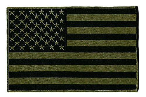 Subdued USA - Jacket Embroidered Flag Patches - Cycle/Tactical - Olive Drab