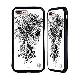 Head Case Designs Licenciado Oficialmente Riza Peker Blanco y Negro. Calaveras 6 Carcasa híbrida Compatible con Apple iPhone 7 Plus/iPhone 8 Plus