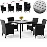 Deuba Poly Rattan <span class='highlight'>Garden</span> Dining Table Chairs Set Furniture WPC Tabletop Black Outdoor Patio Conservatory (8 Seater)