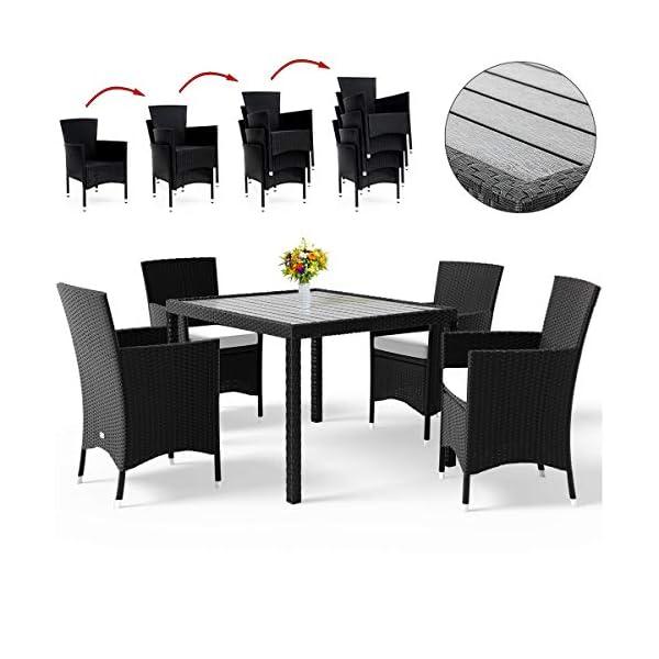 Deuba Poly Rattan Sitzgruppe Gartenmöbel WPC Gartentisch 8 Stapelbare Stühle Auflagen Sitzgarnitur Essgruppe Garten Set