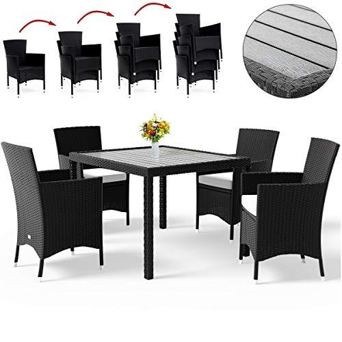 Deuba Poly Rattan Sitzgruppe Gartenmöbel WPC Gartentisch 4 Stapelbare Stühle Auflagen Sitzgarnitur Essgruppe Balkon Set