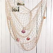 [Hochwertige Materialien]: Baumwolle & bunte und harte Schalen & zarter Anker. Das dekorative Fischnetz ist aus hochwertiger Baumwolle gefertigt und in Handarbeit gewebt. Die Schalen dieses dekorativen Fischnetzes sind hart genug. Es wird nicht leich...