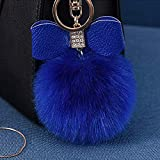 Fluffy Ball Key Chain 8-10cm Cute Keychain Bag Charm Ball Fur Key Chain for Car Key Ring (Royal Blue)